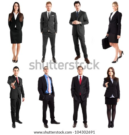 Collection of full length portraits of business people