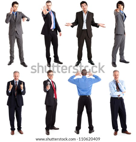 Collection of full length portraits of business people in various expressions - stock photo