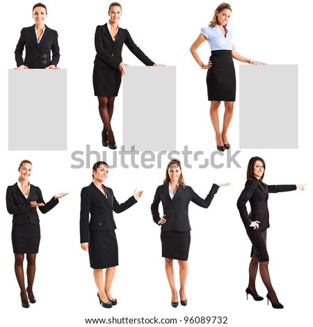 Collection of full length portraits of businesswomen showing a product
