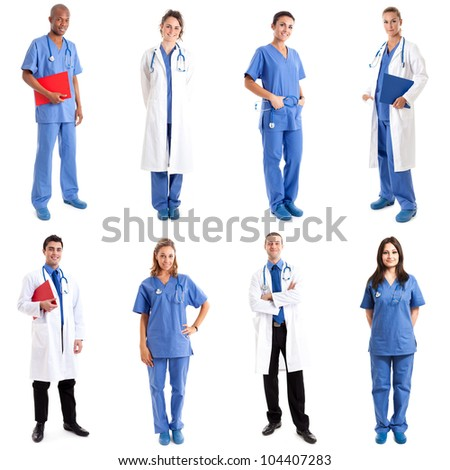 Collection of full length portraits of medical workers