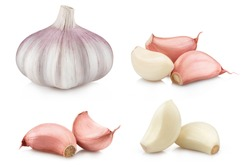 Collection of garlic and cloves, isolated on white background