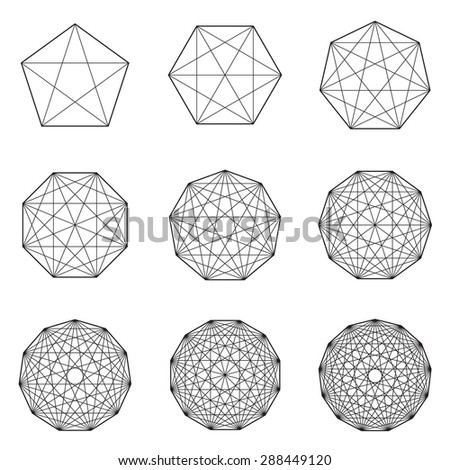 Collection of geometric black shapes on white background. Raster version