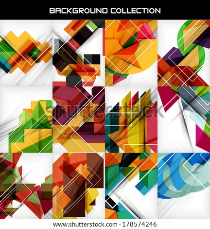 Collection of geometric shape abstract backgrounds. For business background | numbered banners | business lines | graphic website. Raster version
