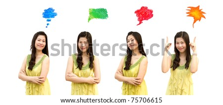 Collection of girl with bright thought bubbles on white background.