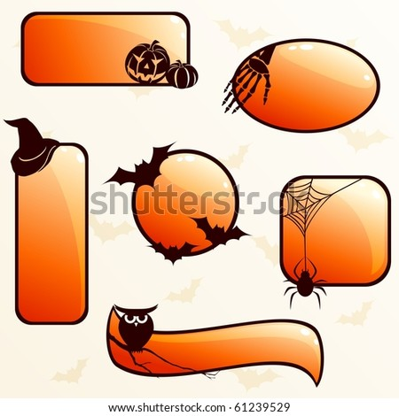 Collection of glossy halloween banners (jpg); vector version also available