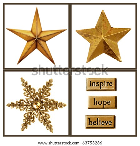 Collection of gold stars and embellishments for your Christmas projects.