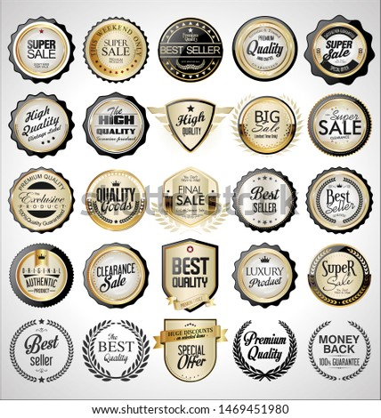 Collection of golden retro vintage badges and labels