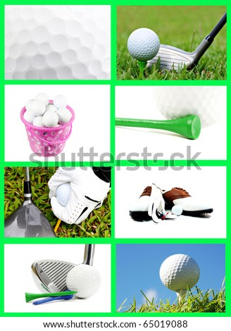 Collection of golf images in a beautiful collage