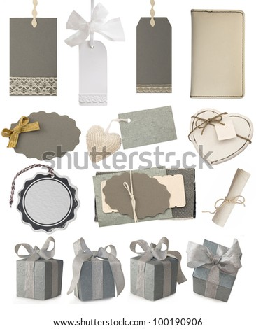 collection of gray tags and gift boxes