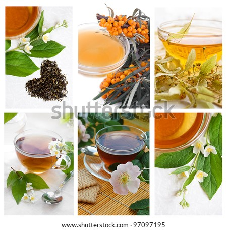 Collection of green and black tea with herbs and flowers