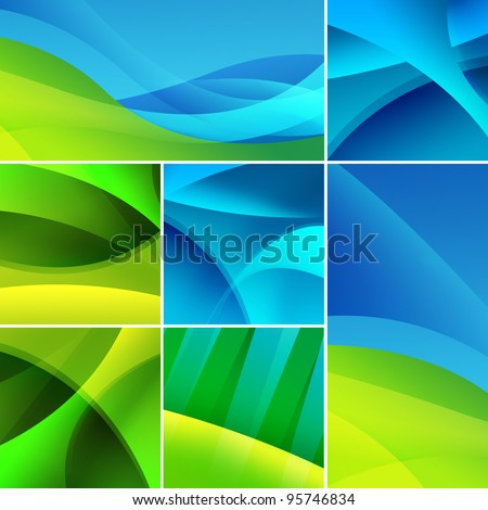 Collection of green and blue abstract designs.