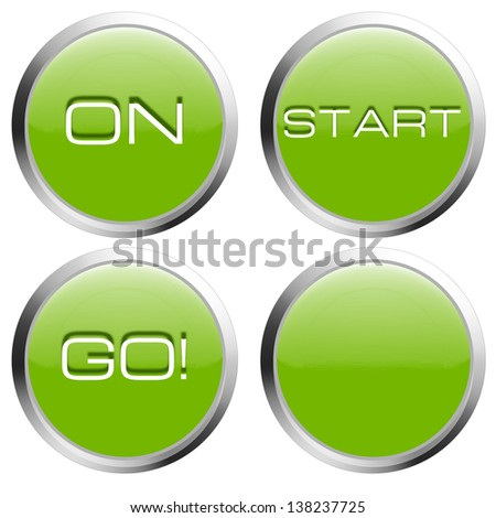 Collection of green buttons with start, on, go text
