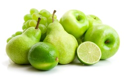 collection of green fruits isolated on white