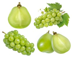Collection of Green grape with leaves isolated on white, Shine Muscat Grape isolated on white background With clipping path,