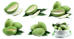 Collection of green mango on white background