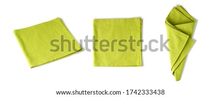 collection of green napkin linen, serviette isolated on white background with clipping path. Stock photo ©