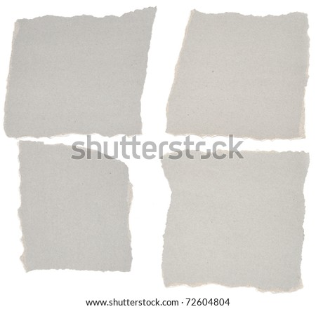 collection of grey ripped pieces of paper on white background