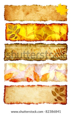 Collection of grunge banners with autumn leaves