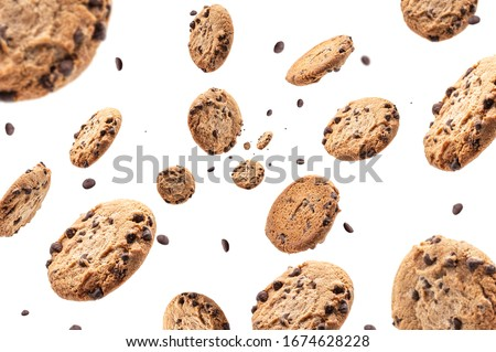 Collection of half chocolate chip cookies on white background