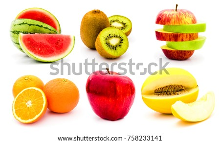 collection of half cut and whole tropical summer fruits. sliced red and green apple, kiwi, watermelon, honey melon, orange isolated on white background. set for fruit salad or product label. #758233141