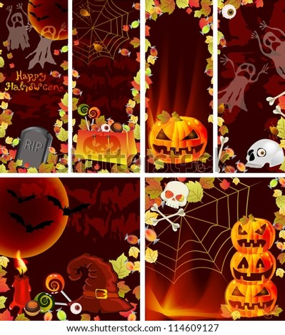 Collection of Halloween banners with place for text. Autumn background