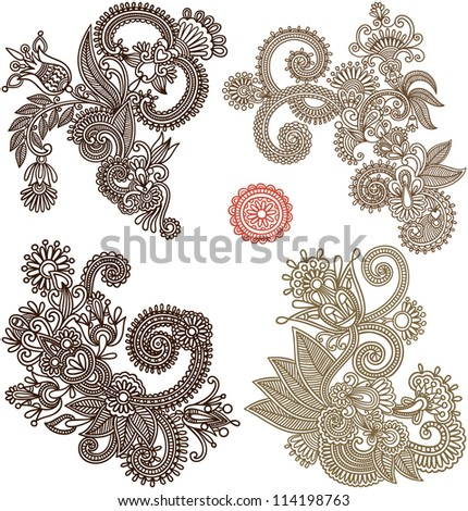 collection of hand draw line art ornate flower design. Ukrainian traditional style. Raster version