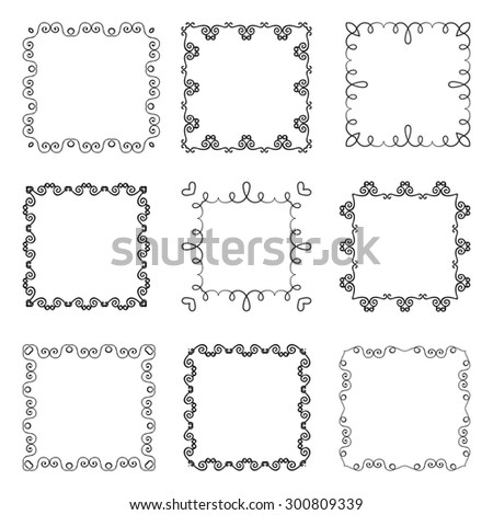 Collection of hand drawn ornamental square frames.  illustration