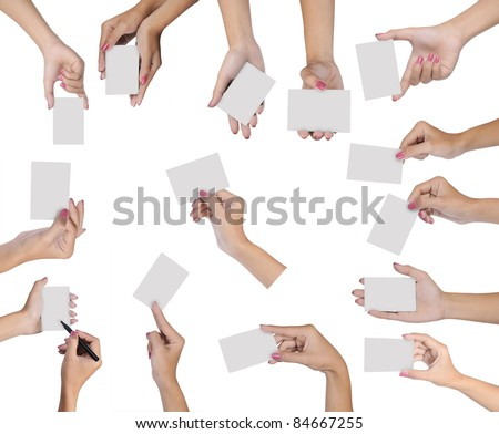 Collection of hand holding blank card isolated on white background