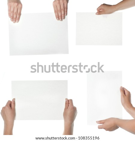 collection of hand holding blank paper on white