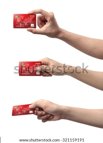 Collection of hand holding credit card isolated over white background #321159191