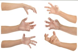 Collection of hand with finger bent isolated on white background. Object with clipping path.