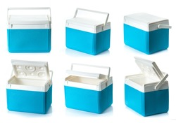 Collection of Handheld Blue refrigerator on a white background