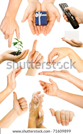 collection of hands - stock photo