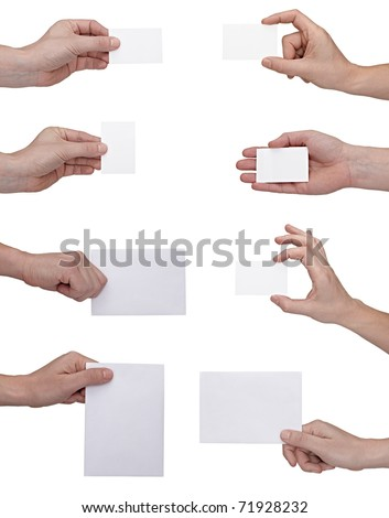 collection of  hands holding blank notes on white background. each one is shot separately