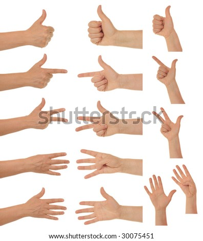 Collection of hands showing one to five finger.