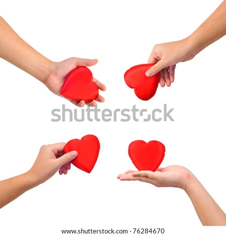 Collection of hands with heart isolated on white.