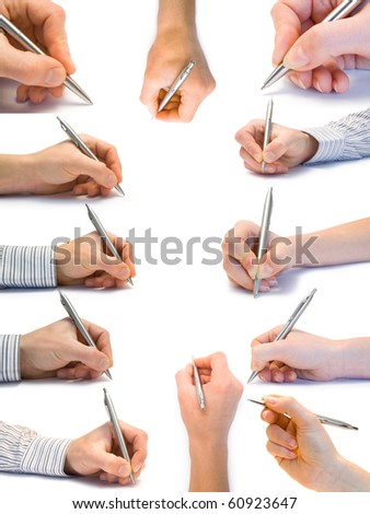 Collection of hands with the handle isolated on white background
