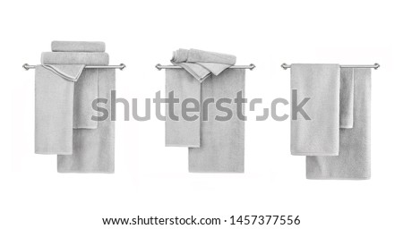 Collection of hanged terry towels isolated on white background. Different views.Close up photo, mock up.
