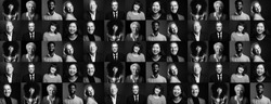 Collection of 9 happy people faces - black and white edition