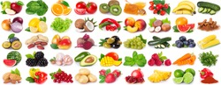 collection of healthy food isolated on white background, set of fresh fruits and vegetables