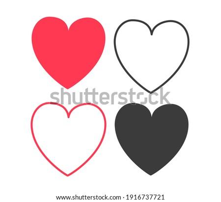 Collection of heart illustrations, set of love symbols, love symbol