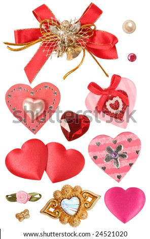 collection of hearts and decorative elements