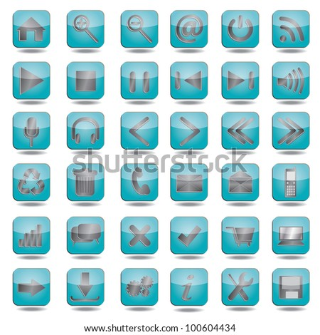 collection of high quality blue web, website icons.