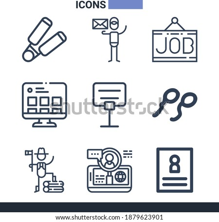Collection of 9 hiring lineal icons included hiring, job, spermatozoon, reservation, hand flex, curriculum, online, lumberjack Stock photo ©