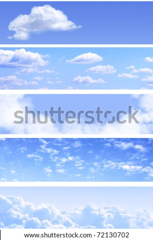 Collection of horizontal sky banners with white clouds in the blue sky