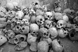 Collection of human skulls from the headhunting days in Mon, Nagaland - India