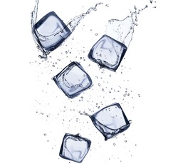 Collection of ice cubes with water splash, isolated on white background