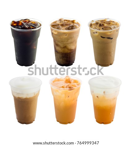 Collection of iced coffee drinks isolated on white background #764999347