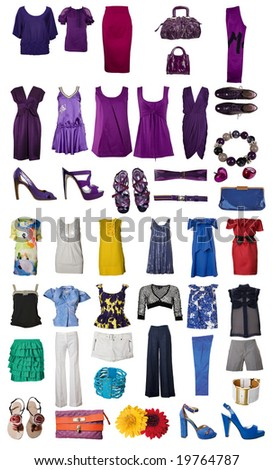 Collection of icons of clothes and accessories for the Internet of sites - stock photo