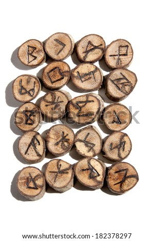 collection of ideographic runes depicting celtic/viking symbols